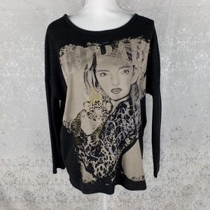 Rue 21 oversized Leopard Lashings graphic top S/M